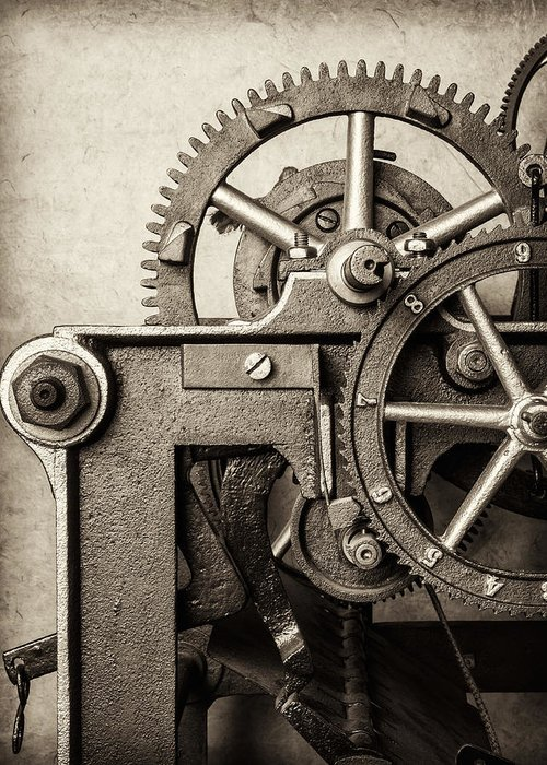 Clock Greeting Card featuring the photograph The Machine by Martin Bergsma