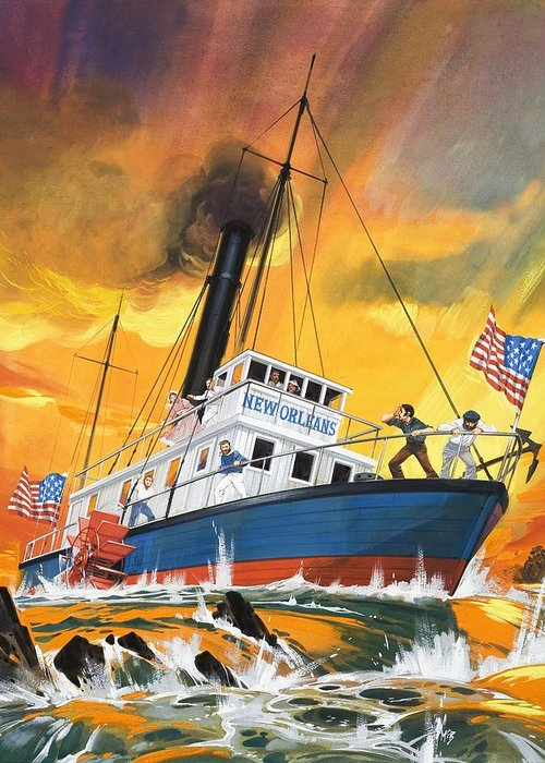 Mississippi River; America; Usa; Nicholas Roosevelt; Steamboat; Ship; Sailing; New Orleons; Paddle Steamer Greeting Card featuring the painting The 'madmen' Of The Mississippi by English School