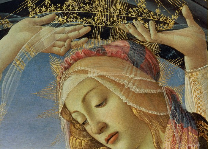 The Greeting Card featuring the painting The Madonna Of The Magnificat by Sandro Botticelli