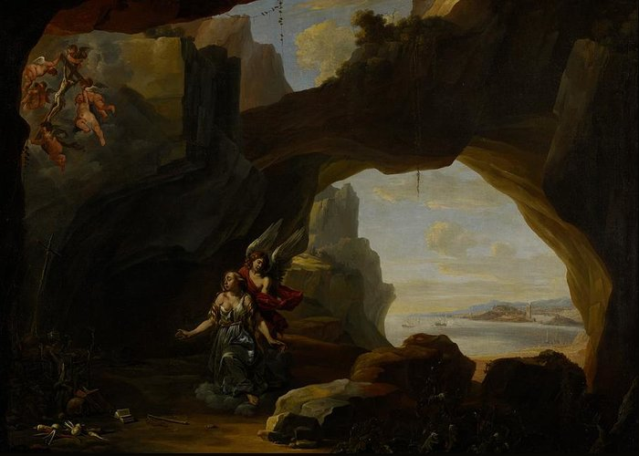 Mary Magdalen; Magdalene; Cave; Cavern; Arch; Sea; Landscape; Coast; Coastal; Vision; Putti; Jesus Christ; Cross; Crucifix; Angel; Angels; Weeping; Crying; Sorrow; Sad; Religion; Religious; Christian; Christianity; Saint; Saints Greeting Card featuring the painting The Magdalen In A Cave by Johannes Lingelbach