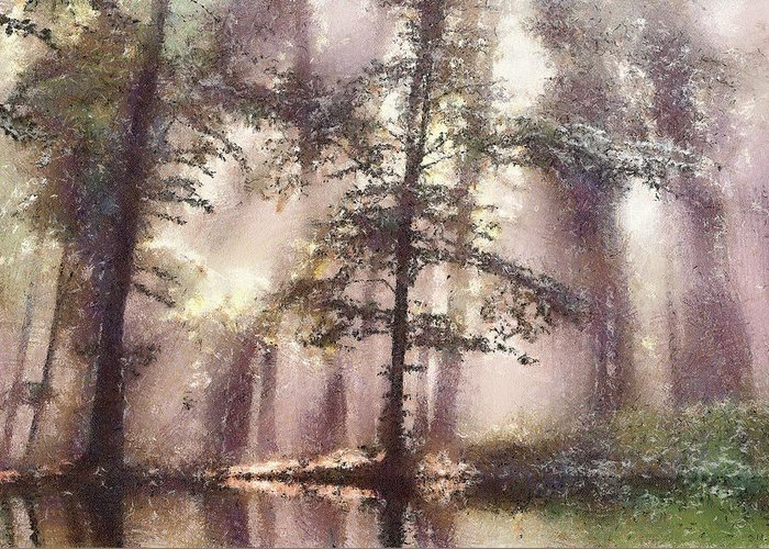 Forest Greeting Card featuring the painting The Magic Forest by Odon Czintos