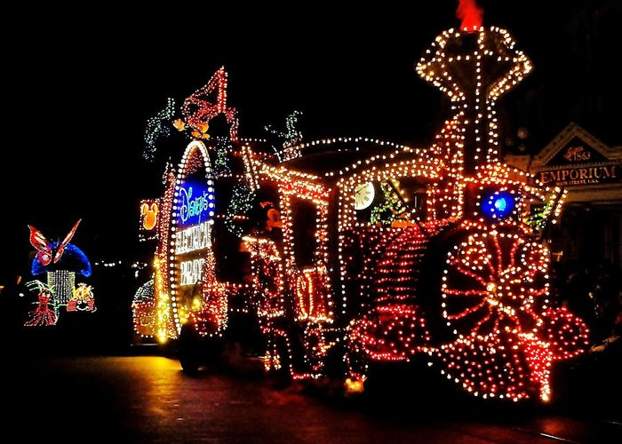 Disney Greeting Card featuring the photograph The Main Street Electrical Parade by Benjamin Yeager