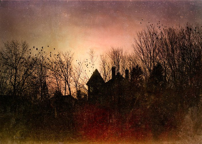 Architecture Greeting Card featuring the photograph The Mansion Is Warm At The Top Of The Hill by Bob Orsillo