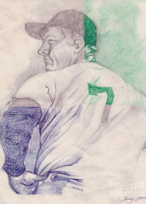 Baseball Greeting Card featuring the drawing The Mantle by Donald Jones