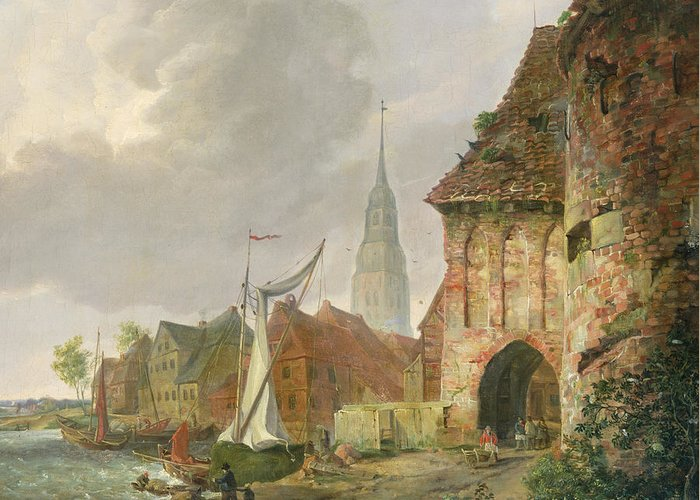The March Gate In Buxtehude Greeting Card featuring the painting The March Gate In Buxtehude by Adolph Kiste
