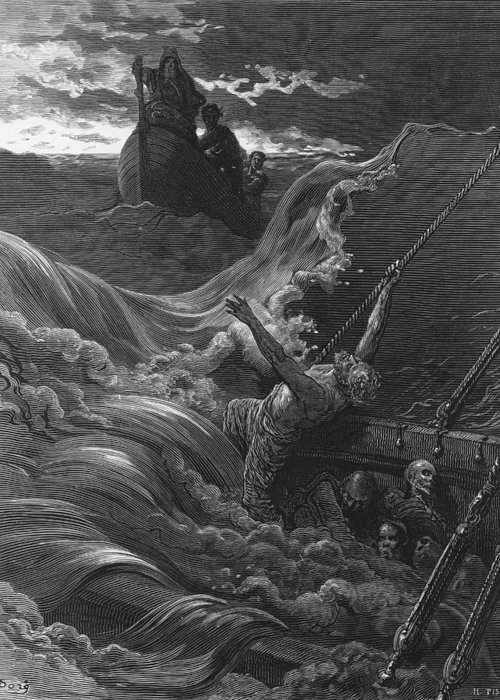 Rescue; Rescuing; Dore Greeting Card featuring the drawing The Mariner As His Ship Is Sinking Sees The Boat With The Hermit And Pilot by Gustave Dore