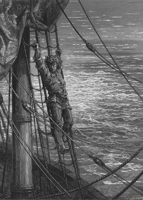 Lonely; Abandoned; Desolate; Sea; Ocean; Dore Greeting Card featuring the drawing The Mariner Describes To His Listener The Wedding Guest His Feelings Of Loneliness And Desolation by Gustave Dore