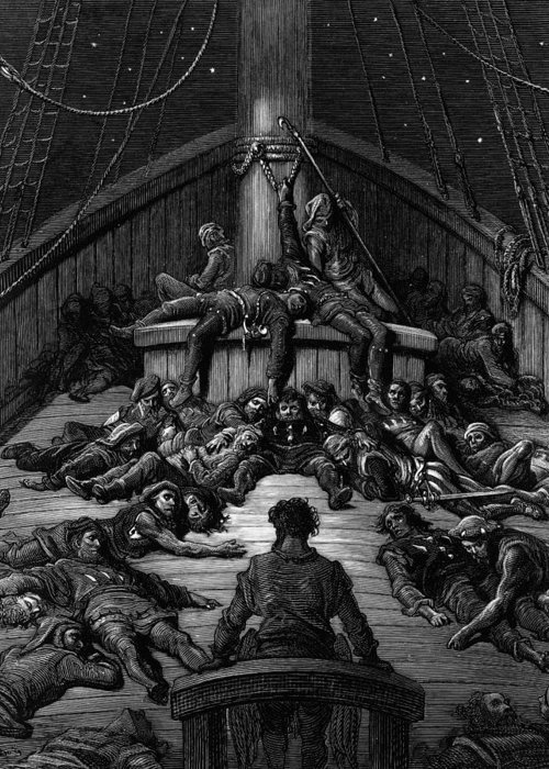 Dore Greeting Card featuring the drawing The Mariner Gazes On His Dead Companions And Laments The Curse Of His Survival While All His Fellow by Gustave Dore
