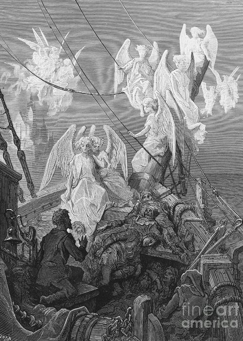 Angels; Ship; Vessel; Sailors; Dore Greeting Card featuring the drawing The Mariner Sees The Band Of Angelic Spirits by Gustave Dore