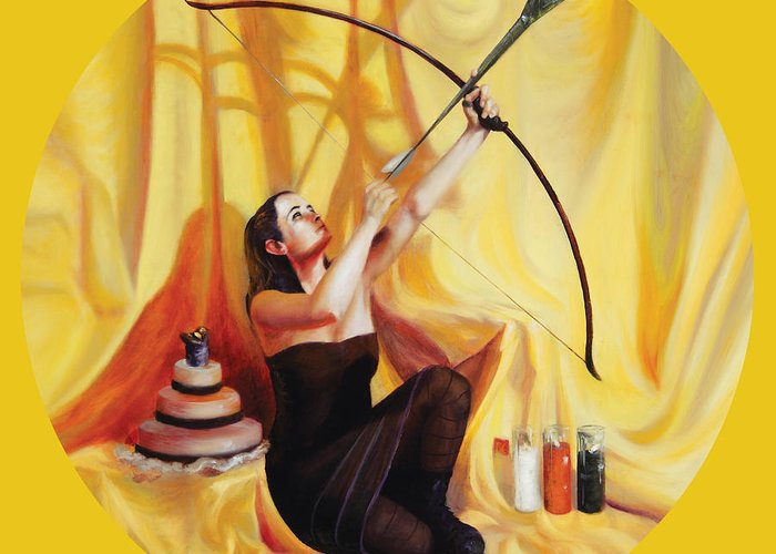 Shelley Irish Greeting Card featuring the painting The Markswoman by Shelley Irish