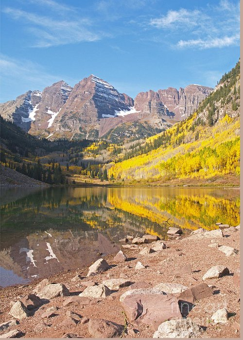 Landscape Greeting Card featuring the photograph The Maroon Bells Near Aspen Colorado by Alex Cassels