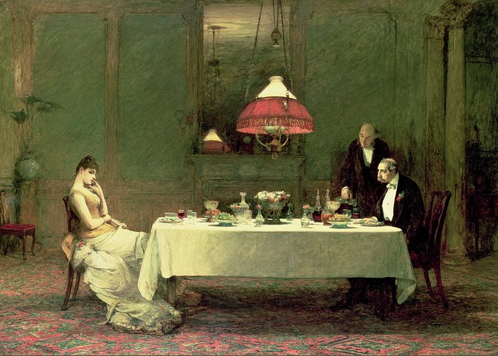 Dinner Greeting Card featuring the painting The Marriage Of Convenience, 1883 by Sir William Quiller Orchardson