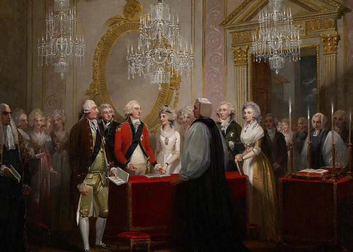 Chandelier Greeting Card featuring the painting The Marriage Of The Duke And Duchess Of York by Henry Singleton