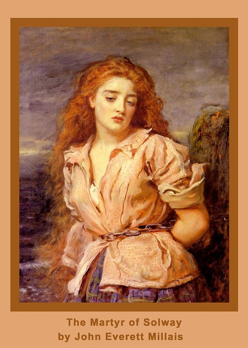 The Martyr Of The Solway Greeting Card featuring the digital art The Martyr Of The Solway Poster by John Everett Millais