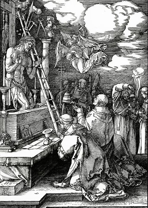 Kneeling Greeting Card featuring the painting The Mass Of St. Gregory by Albrecht Duerer