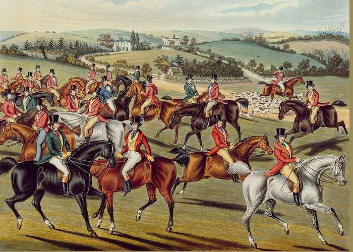 Fox Hunt Greeting Card featuring the painting 'the Meet' Plate I From 'fox Hunting' by Charles Senior Hunt