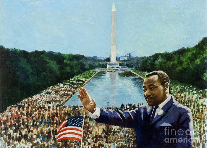 Washington Greeting Card featuring the painting The Memorial Speech by Colin Bootman