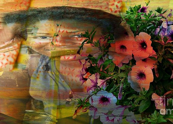 Fania Simon Greeting Card featuring the mixed media The Memory Of A Village Girl by Fania Simon