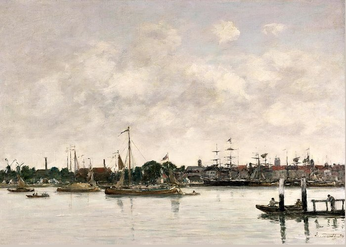 The Meuse At Dordrecht Greeting Card featuring the painting The Meuse At Dordrecht by Eugene Louis Boudin