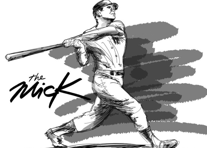 The Mick Greeting Card featuring the drawing The Mick by Ron Regalado
