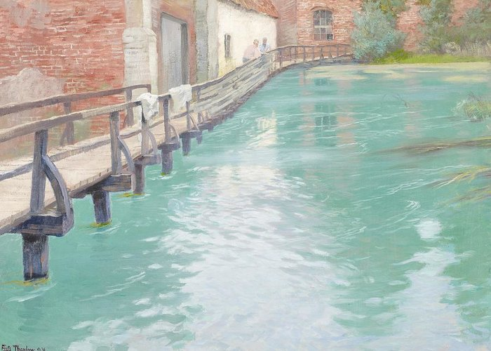 Mill Greeting Card featuring the painting The Mills At Montreuil Sur Mer Normandy by Fritz Thaulow
