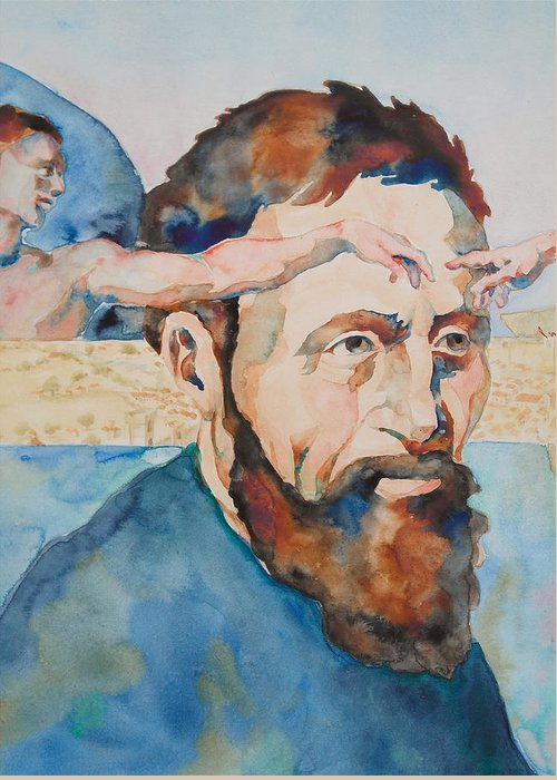 Michelangelo Buonarroti Greeting Card featuring the painting The Mind Of Michelangelo by Michele Myers