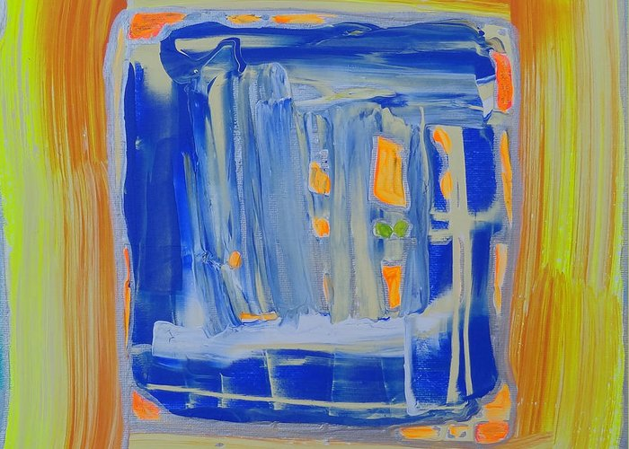 Abstract Painting Greeting Card featuring the painting The Mirror. by Agnieszka Praxmayer