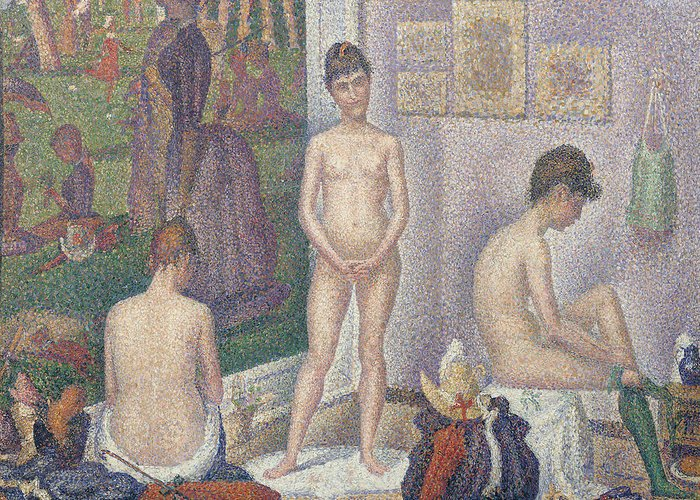 Nude Greeting Card featuring the painting The Models by Georges Pierre Seurat