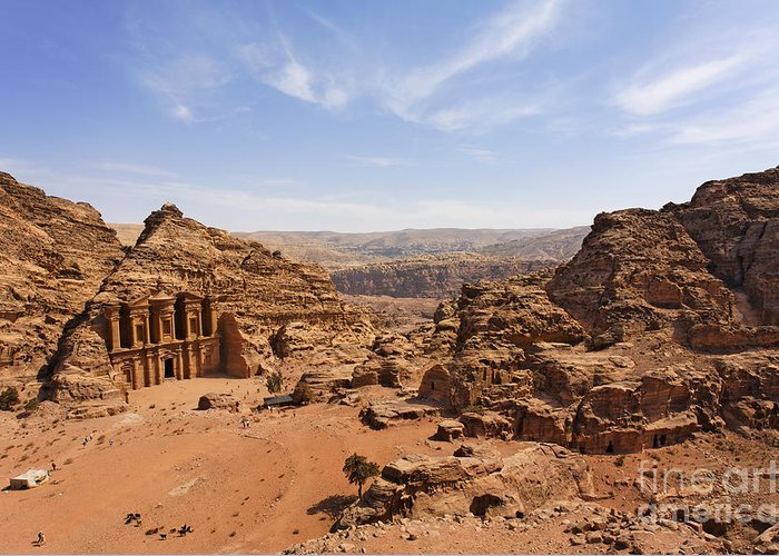 Petra Greeting Card featuring the photograph The Monastery And Landscape At Petra In Jordan by Robert Preston
