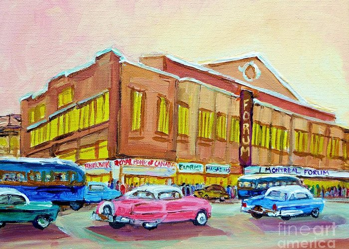 Montreal Greeting Card featuring the painting The Montreal Forum by Carole Spandau