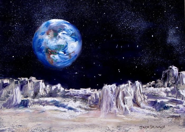 Moon Greeting Card featuring the painting The Moon Rocks by Jack Skinner