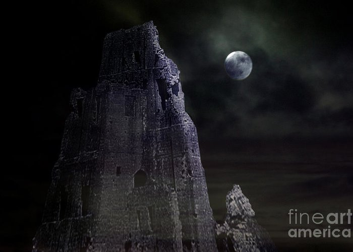 Castle Greeting Card featuring the photograph The Moonshine On The Castle by Terri Waters