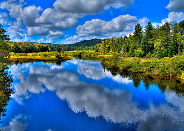 Adirondack's Greeting Card featuring the photograph The Moose River From The Green Bridge by David Patterson
