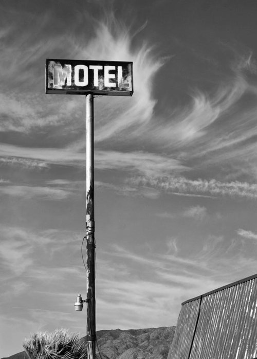 Dhs Greeting Card featuring the photograph The Motel Bw Palm Springs by William Dey