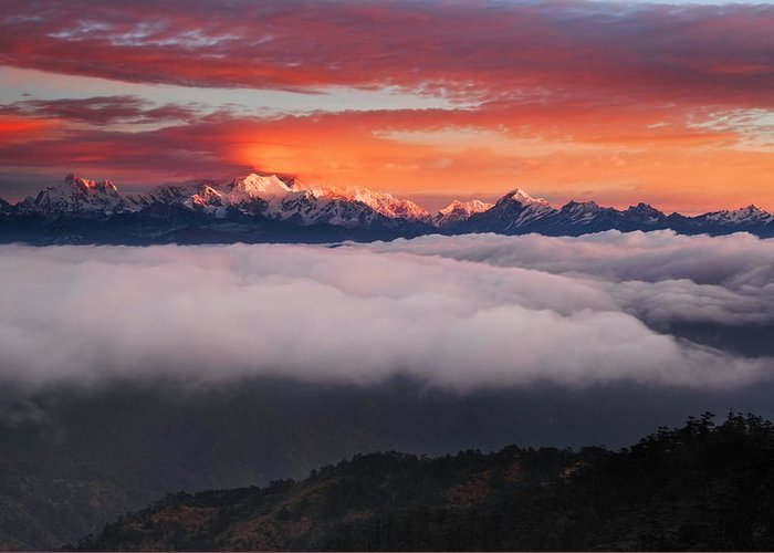 Himalaya Greeting Card featuring the photograph The Mountain Gods by Karsten Wrobel