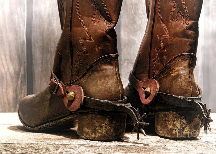 Cowboy Greeting Card featuring the photograph The Muddy Boots by Olivier Le Queinec