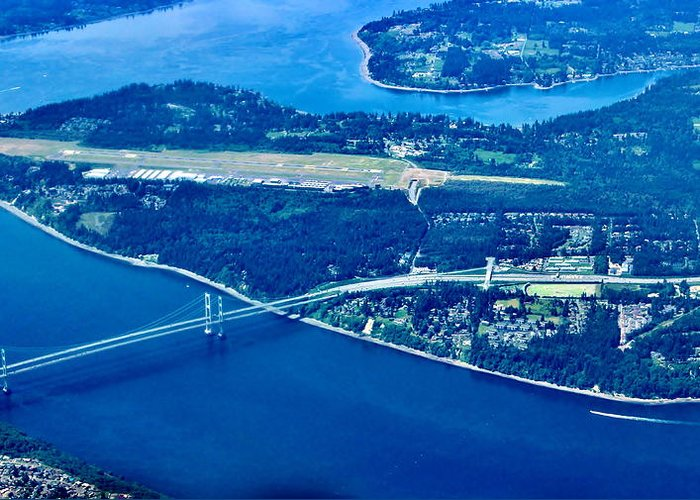 Gig Harbor Greeting Card featuring the photograph The Narrows by Benjamin Yeager