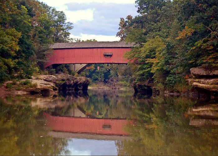 Covered Bridge Greeting Card featuring the photograph The Narrows Covered Bridge 4 by Marty Koch