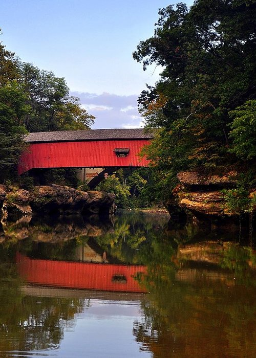 Covered Bridge Greeting Card featuring the photograph The Narrows Covered Bridge 5 by Marty Koch