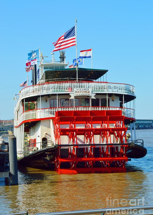 Mississippi River Greeting Card featuring the photograph The Natchez 1 by Alys Caviness-Gober