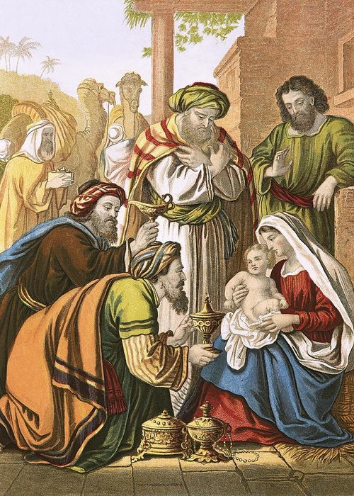 Bible; Christ; Jesus; Nativity; Three Wise Men; Three Kings; Birth; Bethlehem Greeting Card featuring the painting The Nativity by English School
