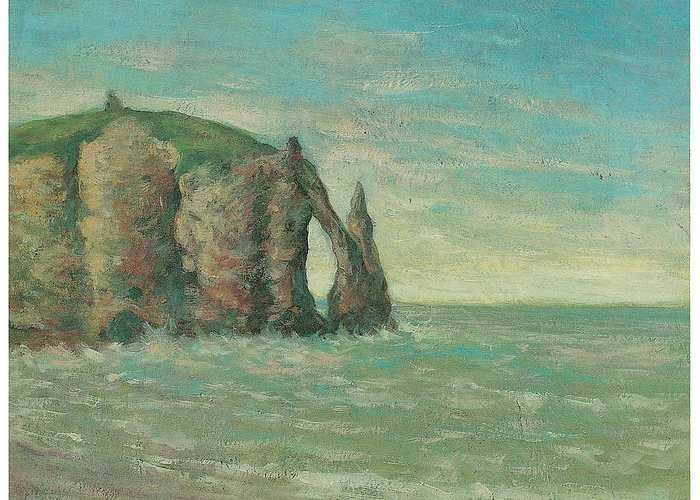 Claude Emile Schuffenecker Greeting Card featuring the painting The Needle At Etretat by Claude Emile Schuffenecker
