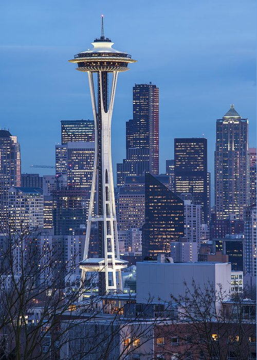Seattle Greeting Card featuring the photograph The Needle At Night by Ross Murphy