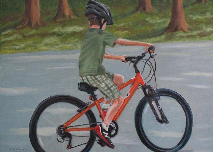 Boy Greeting Card featuring the painting The New Bike by Jill Ciccone Pike