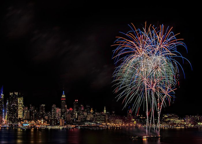 4th Of July Greeting Card featuring the photograph The New York City Skyline Sparkles by Susan Candelario