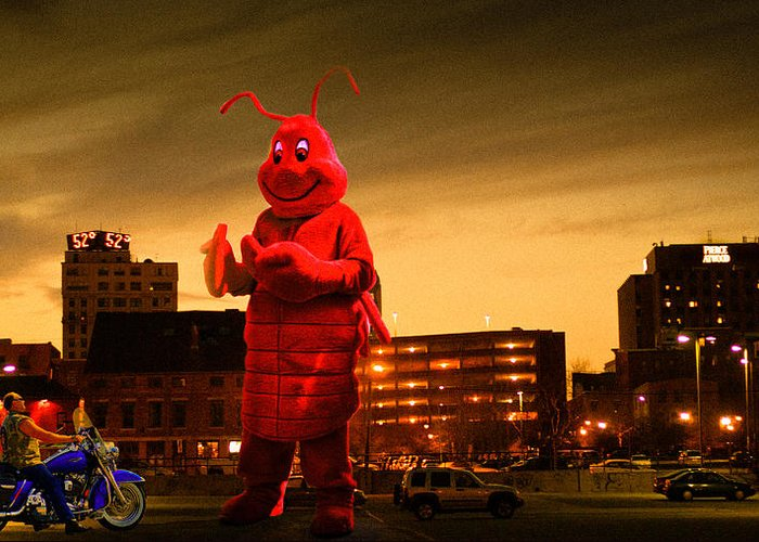 Lobsterman Greeting Card featuring the photograph The Night Of The Lobster Man by Bob Orsillo