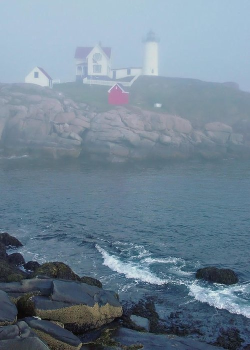 Nubble Lighthouse Greeting Card featuring the photograph The Nubble Lighthouse At York Maine by Suzanne Gaff