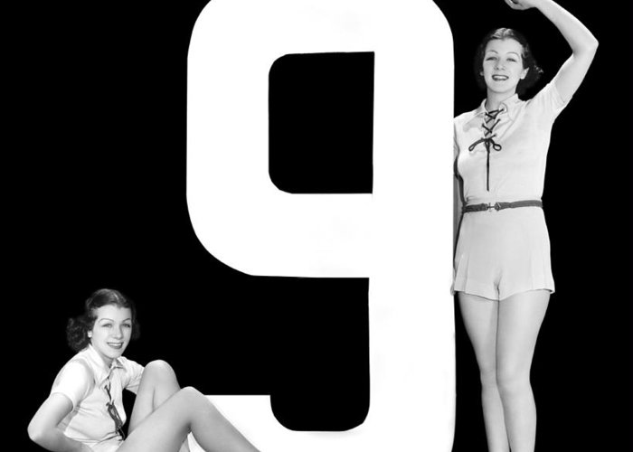 1935 Greeting Card featuring the photograph The Number 9 And Two Women by Underwood Archives