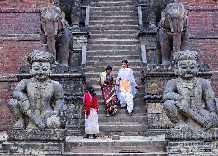 Bhaktapur Greeting Card featuring the photograph The Nyatapola Temple At Bhaktapur In Nepal by Robert Preston