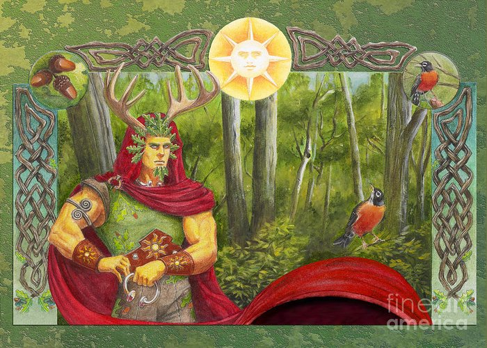 Pagan Greeting Card featuring the mixed media The Oak King by Melissa A Benson